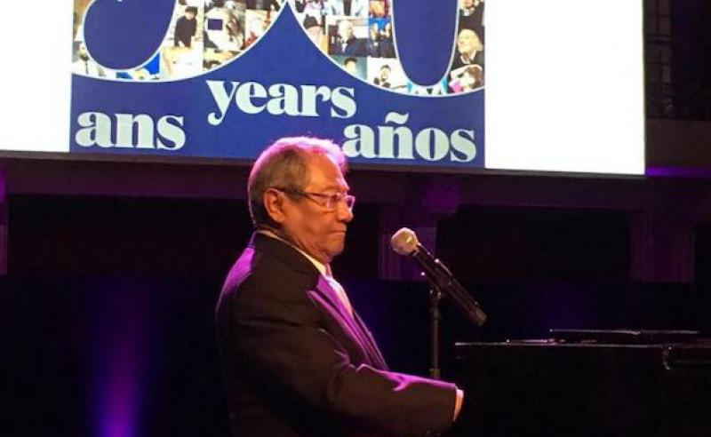 Armando Manzanero performs at the CISAC General Assembly in Paris.